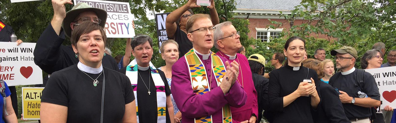 """Bishops and clergy of the Diocese of Virginia stand together with the Charlottesville Clergy Collective (CCC) in opposition to the so-called """"Unite the Right"""" rally. PHOTO COURTESY DIOCESE OF VIRGINIA FACEBOOK PAGE"""