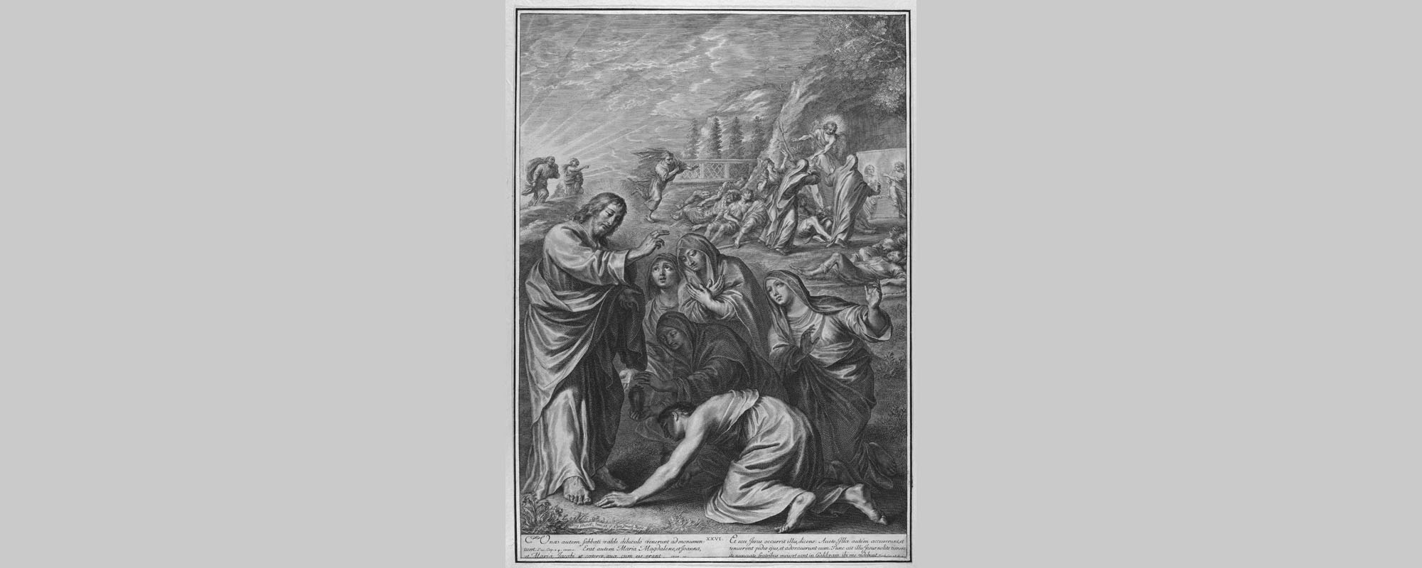 The Holy Women at Christ's Tomb, from The Passion of Christ, plate 20, by Gregoire Huret (1606-1670).