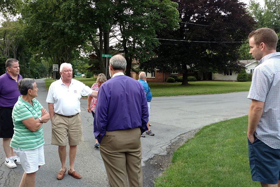 Walking the neighborhood at St. Mary's, Sparta.