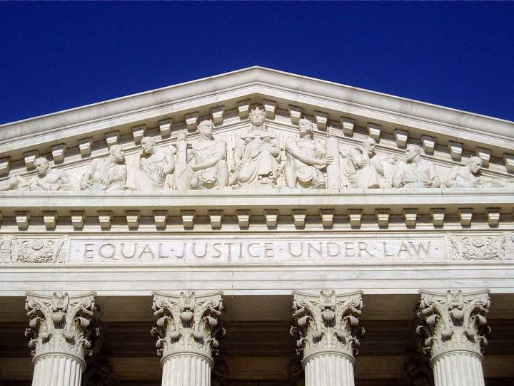 "The western façade of the Supreme Court building: ""Equal Justice Under Law"""
