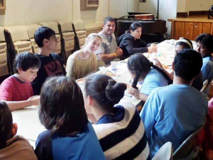 Lunch at St. Peter's Bi-Lingual Summer Bible Camp in Morristown.