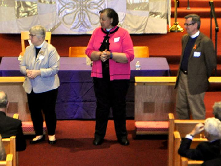 Bishop candidate walkabout. BILL ALLPORT PHOTO