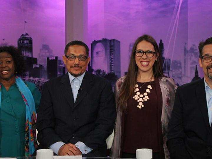 Bishop Mark Beckwith, Islah Ali, Imam W. Deen Shareef, Mariel Hufnagel, Rabbi Matthew Gerwitz and Mark Dorsey discuss addiction on the second episode of A Matter of Faith. PHOTO COURTESY NJTV