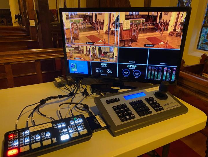 A Marge Christie Fund grant helped make possible this new A/V equipment at St. Stephen's, Millburn. PAULA TOLAND PHOTO