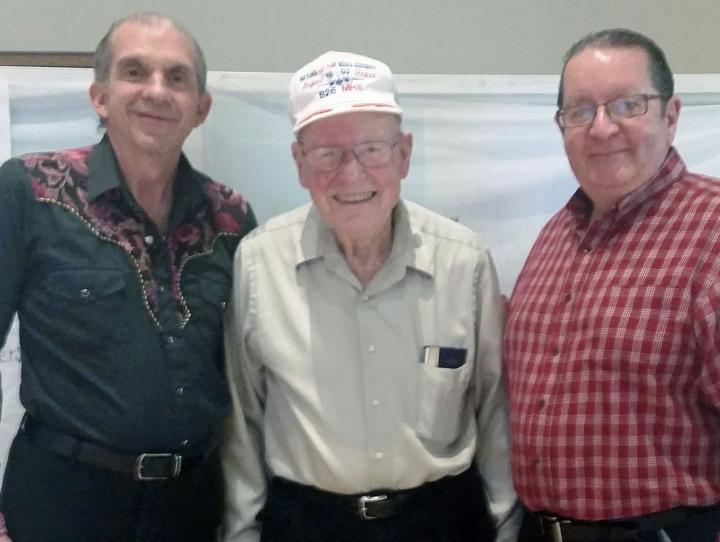 Marty Fleisher, center, with director Jim Hackett and instructor Dave Cross.