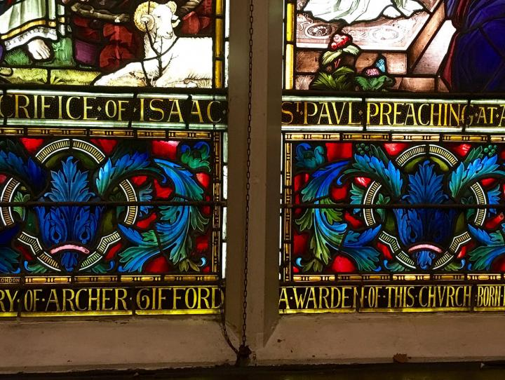 Detail of the Cathedral window dedicated to Archer Gifford.