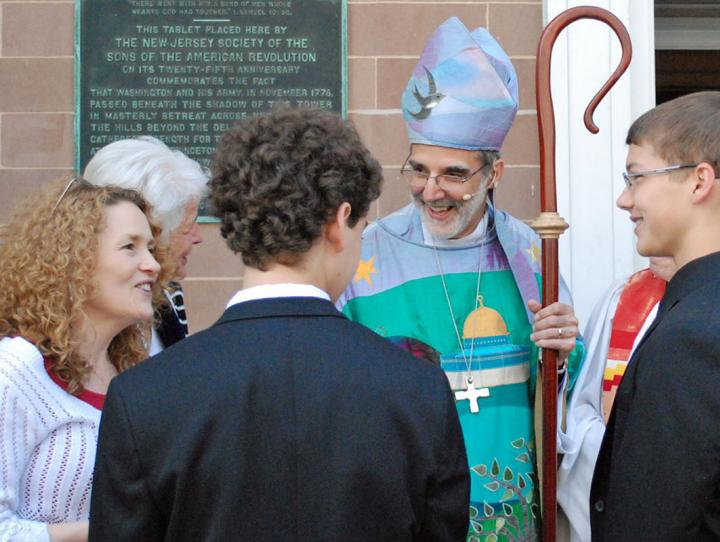 Bishop Beckwith chats with confirmands from St. Andrew's in Harrington Park