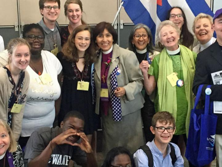 The Newark Youth Presence at General Convention 2018 welcomes the Bishop of Cuba after reinstatement!