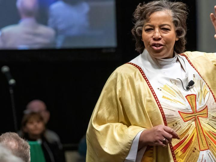 Bishop Hughes addressing Convention on Saturday. CYNTHIA L. BLACK PHOTO