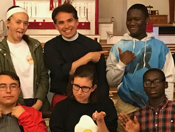The Rev. Jerry Racioppi (back row, center) and Rosie Grant (back row, right) with the six diocesan youth they are chaperoning to EYE17 in Oklahoma this July. CHARLES WHITE PHOTO