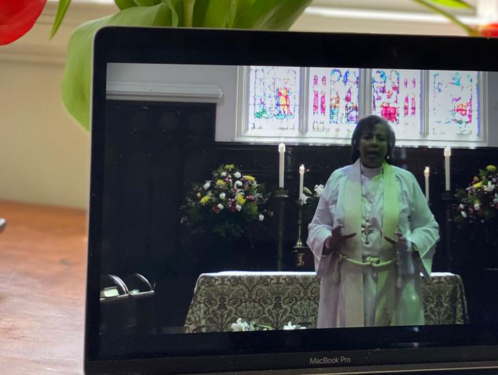 Bishop Hughes preaching at the Cathedral during the live-streamed Easter service. CYNTHIA MCCHESNEY PHOTO