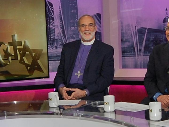 Retired Bishop Mark Beckwith and his interfaith colleagues Imam W. Deen Shareef and Rabbi Matthew Gewirtz. PHOTO COURTESY NJTV