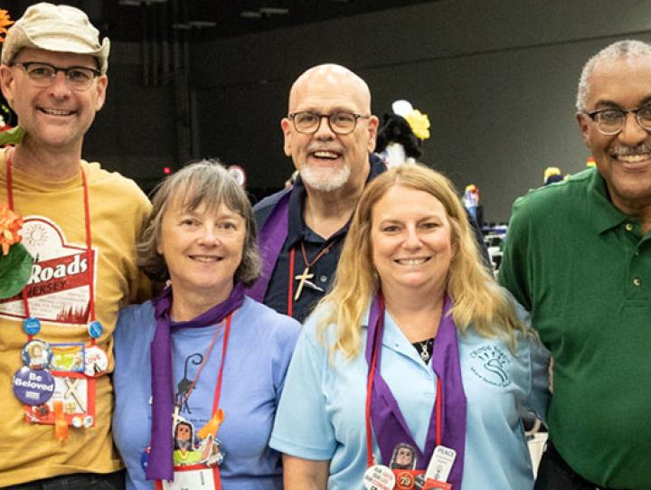 The Newark Deputation dressed for both Camp Shirt Day and Purple Scarf Day at General Convention. PHOTO COURTESY CYNTHIA BLACK