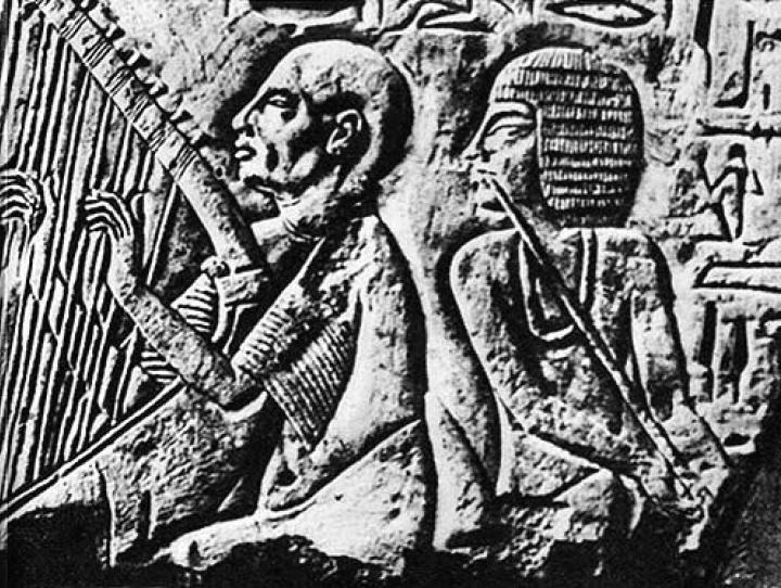 "Blind harpist playing with ""orchestra"" for the tomb of Patenemheb."