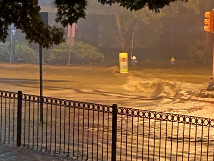 Hurricane Ida flooding outside St. Stephen's, Millburn. PAULA TOLAND PHOTO