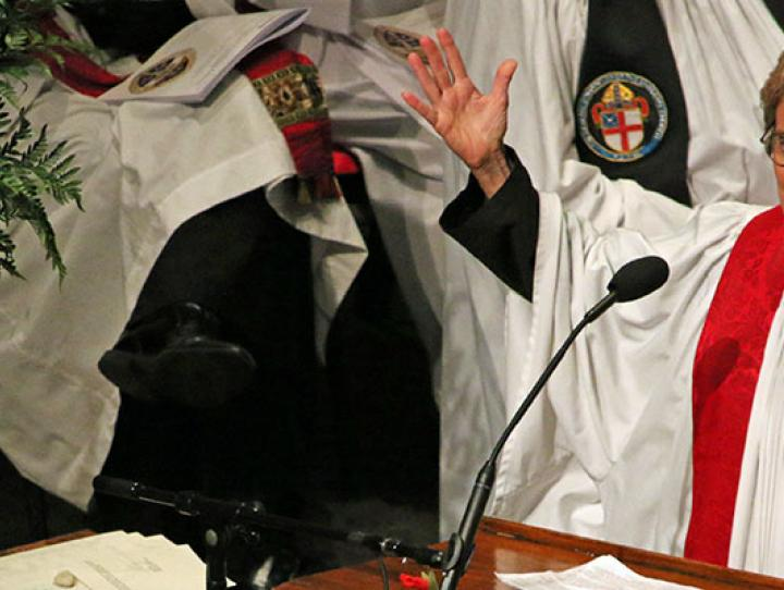 The Rev. Brenda G. Husson preaching at the consecration. NINA NICHOLSON PHOTO