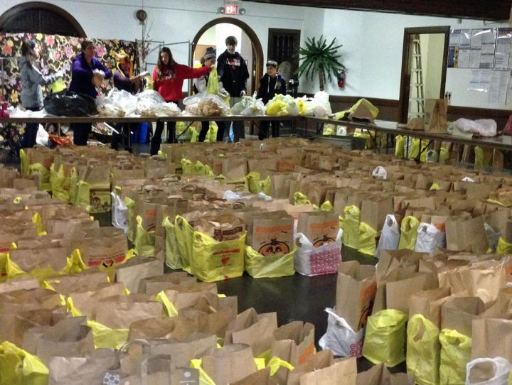 Grocery bags ready to go to patrons of the Interfaith Food Pantry of the Oranges