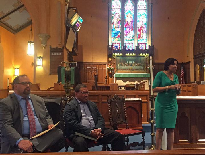 Flint Mayor Karen Weaver, right, discusses the city's water crisis during a Sept. 17 briefing to the House of Bishops. Michigan Senate Minority Leader Jim Ananich (D-Flint), left, and Flint pediatrician Larry Reynolds, a member of the Flint Water Advisory Task Force, also participated. MARK BECKWITH PHOTO