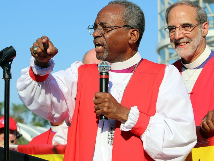Presiding Bishop-elect Michael Curry and Bishop Mark Beckwith
