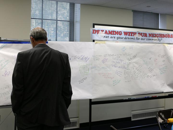 "Bishop Beckwith reads the community ""Dream Board"" inspired by Paul's dream in Acts 16:6-15. NINA NICHOLSON PHOTO"