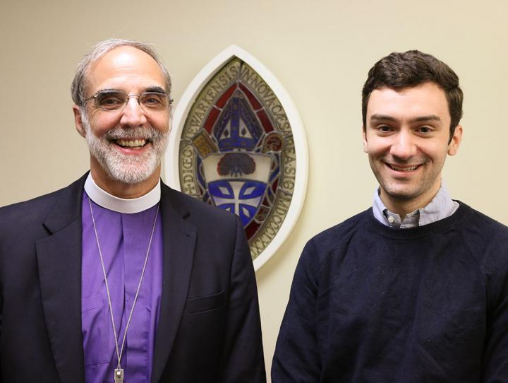 Peter Angelica with Bishop Mark Beckwith shortly after returning from a year in the Community of St. Anselm. NINA NICHOLSON PHOTO