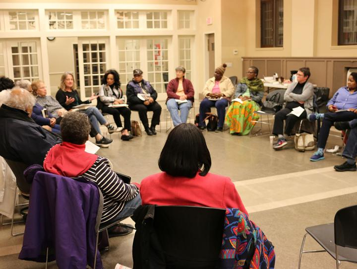 The book discussion group meeting on October 26, 2016 at St. George's, Maplewood. KIRK PETERSEN PHOTO