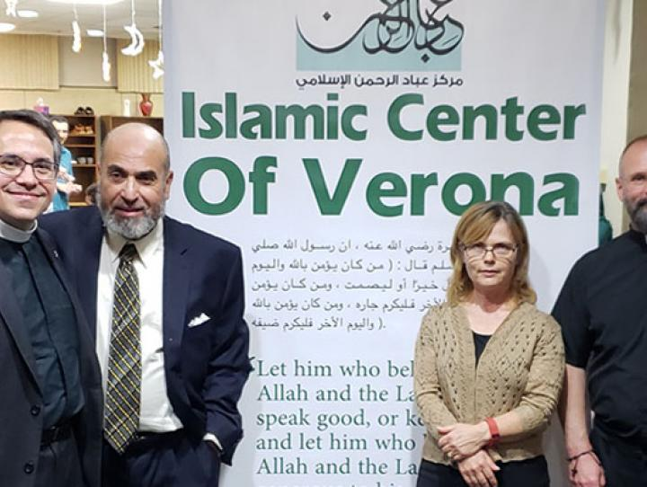 Fr. Jerry Racioppi (third from left), Dr. Montaser Awad (President of Verona Islamic Center), Pastor Lynn Rubier-Capron (Verona First Presbyterian) and Father Joe D'Amico (Our Lady of the Lake Roman Catholic) with other leaders of the new mosque in Verona. RANDY JOHNSON PHOTO