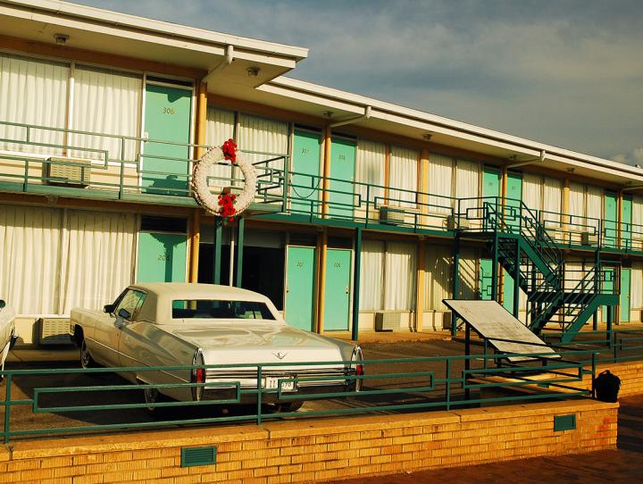 The Lorraine Motel in Memphis, TN, now part of the National Civil Rights Museum complex. A wreath marks the spot where King died.