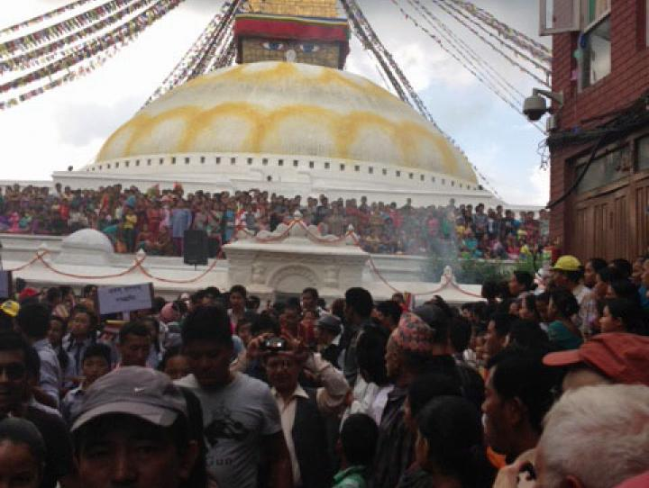 The Boudhanath stupa in Kathmandu, Nepal