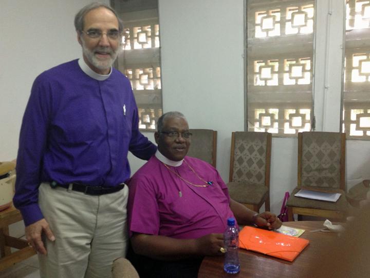 Bishop Mark Beckwith with Bishop Jonathan Hart of Liberia