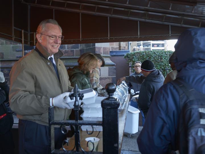 Paul Shackford volunteering at St. John's soup kitchen