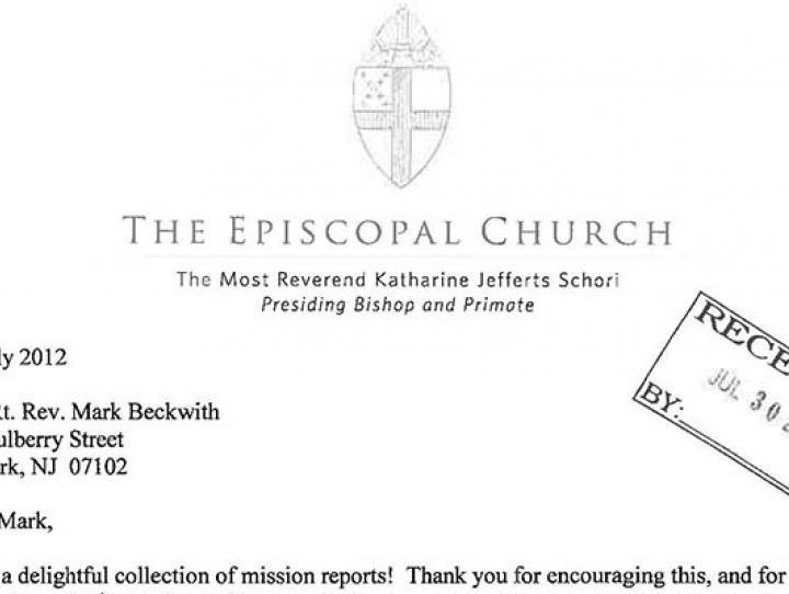 Letter from Presiding Bishop Katharine Jefferts Schori