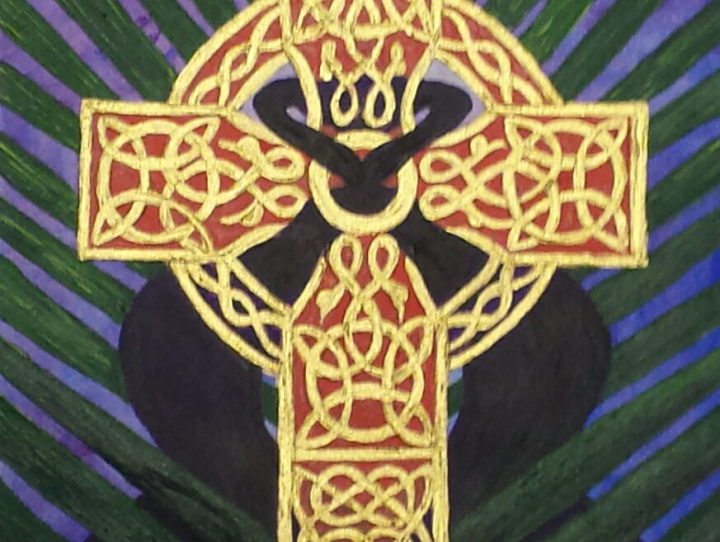 Palms behind a red and gold Celtic cross with a purple robe woven through it.