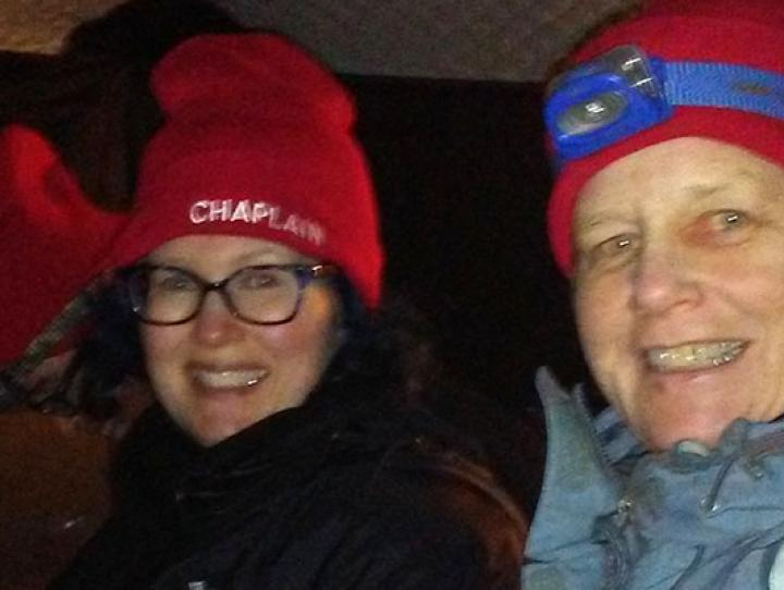 Author Peg Crilly (right) at Standing Rock. PHOTO COURTESY PEG CRILLY