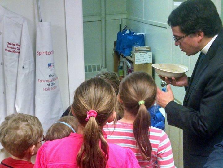 Church School kids help Jerry Racioppi bless Holy Spirit, Verona's Food Pantry