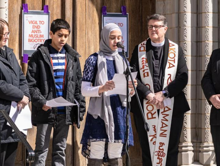 (L-r) Rabbi Ellie Miller, President of the Morristown Clergy Council; Taha Hagag; Fatima Catovic; the Rev. Cynthia L. Black of Redeemer, Morristown; and Imam Saffet Cadovic, Muslim chaplain at Drew University. BECKY WALKER PHOTO