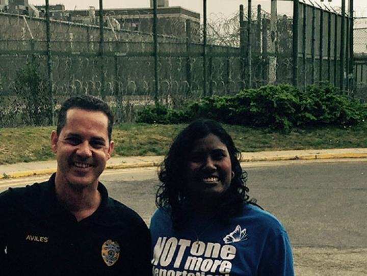 Standing outside Hudson County Correctional Center, one of four facilities where asylum seekers are detained, are (l-r) Rosa Santana, First Friends Visitor Program Coordinator; Oscar Aviles, former Director of Hudson County Correctional Center; and Sally Pillay, First Friends Program Director. LORNA HENKEL PHOTO