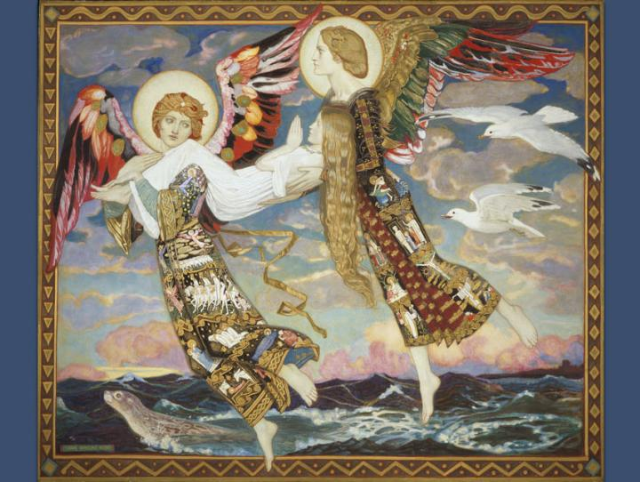 St. Bride by John Duncan (1866-1945). This painting shows angels carrying Brigid (aka Bride) to Bethlehem to assist Mary at the birth of Jesus, as asserted in Scottish folklore.