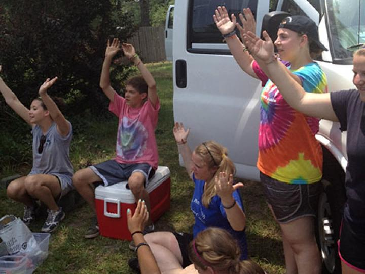 St. Peter's youth on their final day of volunteer work at Topsail, NC.