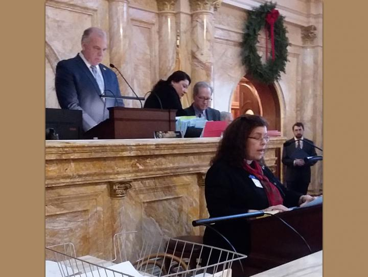 The Rev. Vicki Geer McGrath giving the invocation at the opening of the New Jersey State Senate, December 17, 2018.