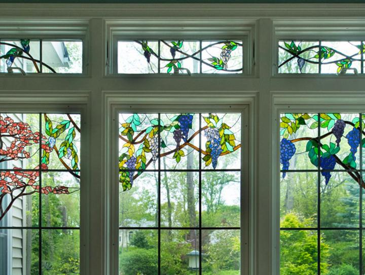 A set of stained glass windows by Colleen Hintz.