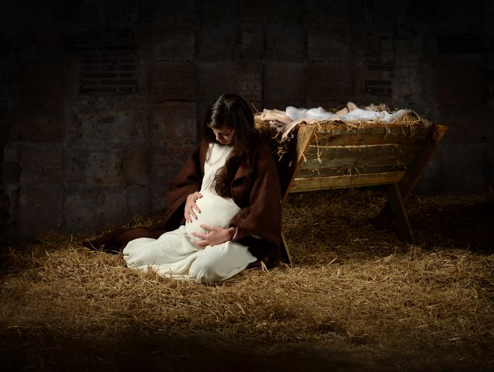 Mary, great with child
