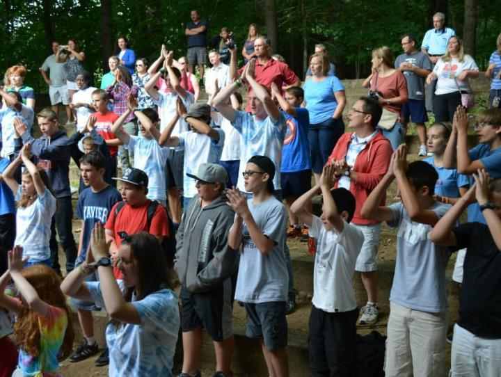 Campers and staff worship at Cross Roads.