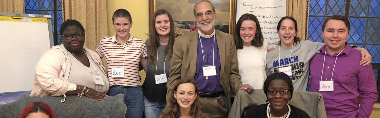 Bishop Beckwith meeting with diocesan youth on April 27, 2018. CHRIS WHITAKER PHOTO