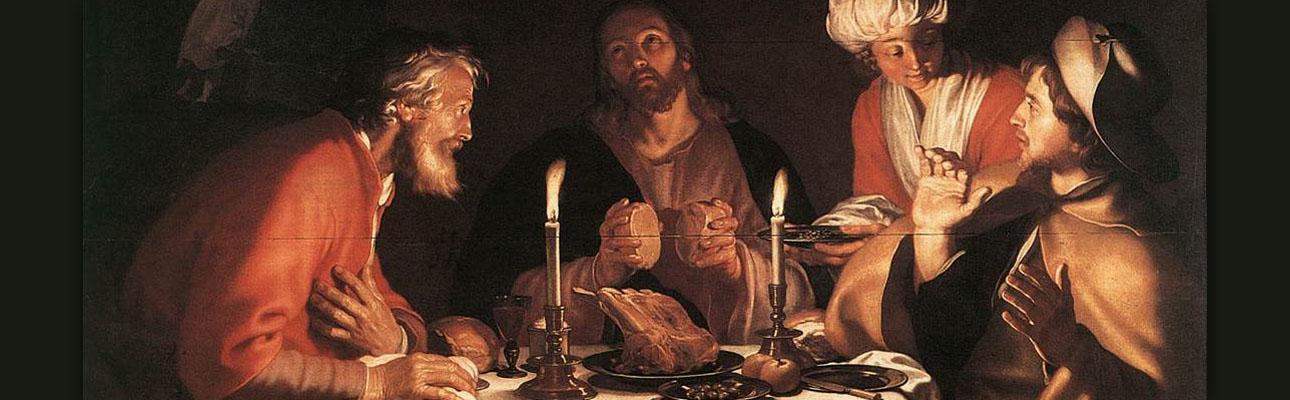 "Detail: ""The Emmaus Disciples"" by Abraham Bloemaert, 1622."