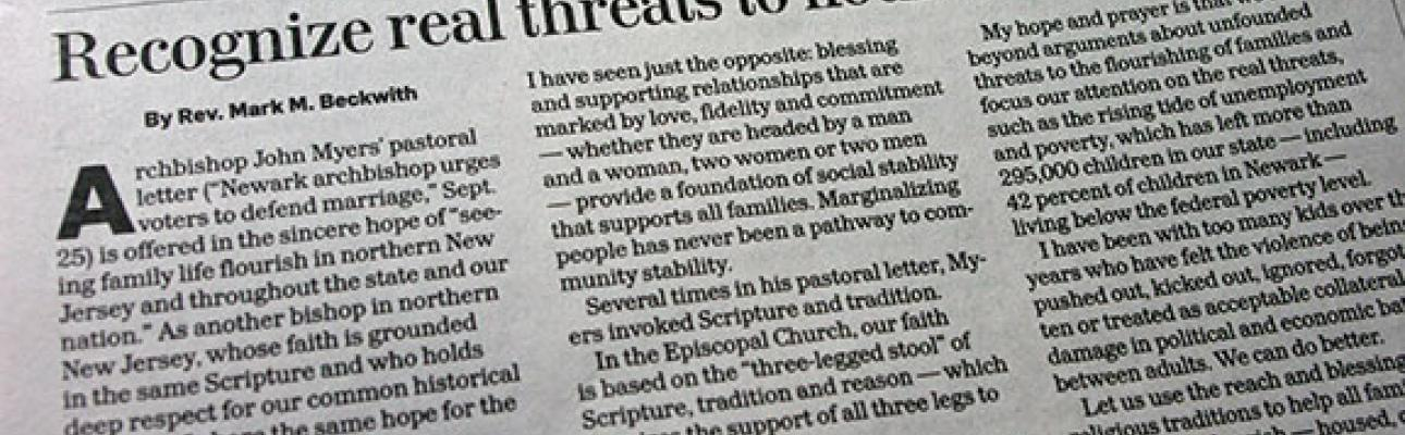 Star-Ledger op-ed: Recognize real threats to flourishing families