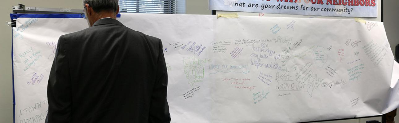 """Bishop Beckwith reads the community """"Dream Board"""" inspired by Paul's dream in Acts 16:6-15. NINA NICHOLSON PHOTO"""