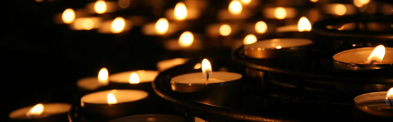 tealights in a darkened room.