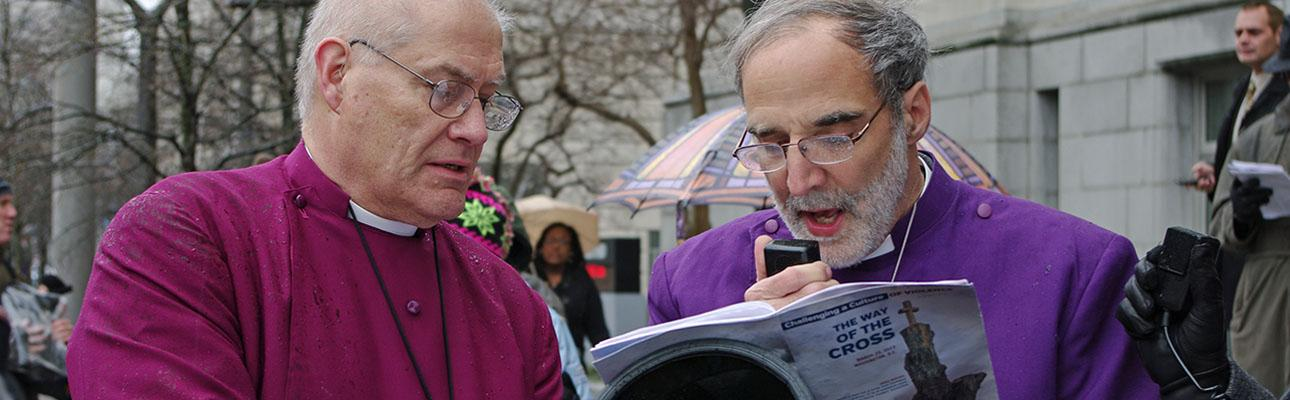 Bishop Mark Beckwith reads a meditation at the March 2013 march in Washington, D.C. in response to the school shooting in Newtown, CT. On March 24, 2018 he will join the march in Washington, D.C. in response to the school shooting in Parkland, FL. NINA NICHOLSON PHOTO