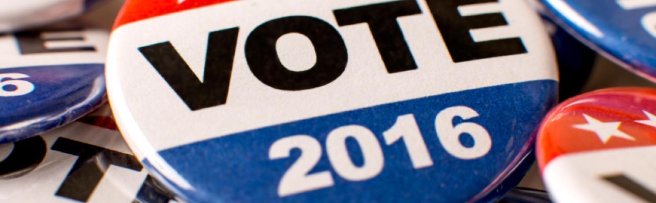 """Election button: """"Vote 2016"""""""